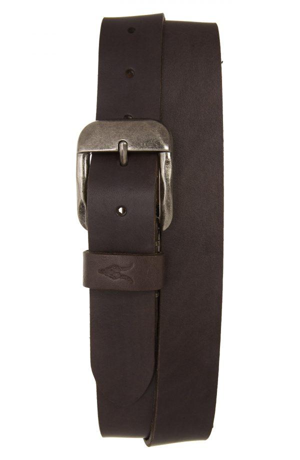 Men's Allsaints Sculpted Buckle Leather Belt, Size 32 - Anthracite