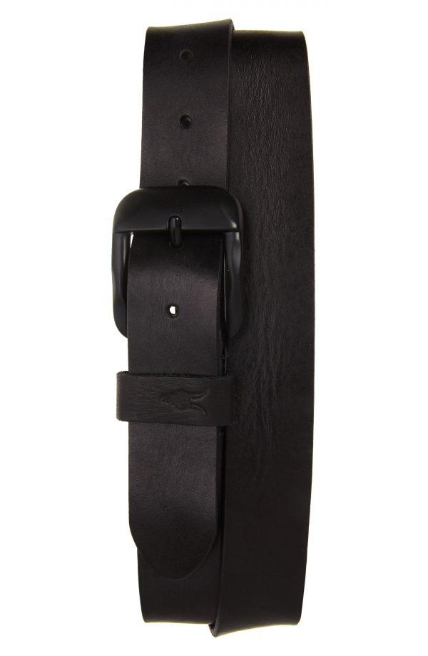 Men's Allsaints Sculpted Buckle Leather Belt, Size 32 - Black