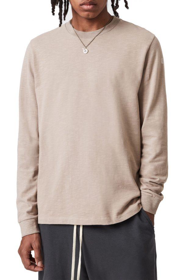Men's Allsaints Seri Long Sleeve Cotton Crewneck T-Shirt, Size X-Small - Grey