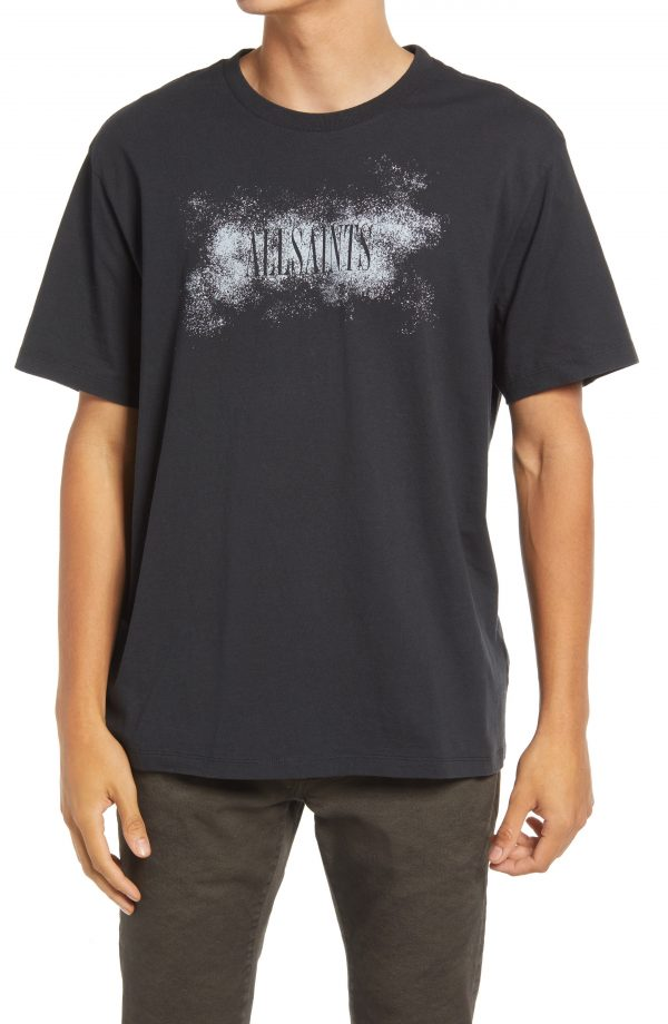 Men's Allsaints Shadow Stamp Cotton Graphic Tee, Size Small - Black