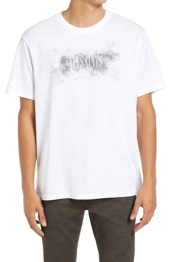 Men's Allsaints Shadow Stamp Cotton Graphic Tee, Size Small - White