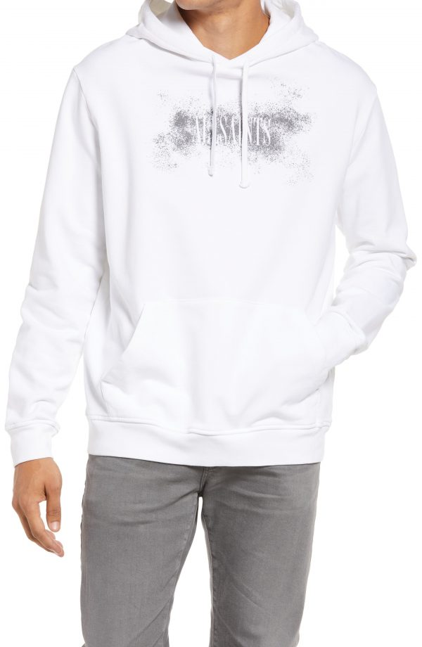 Men's Allsaints Shadow Stamp Graphic Hoodie, Size Small - White