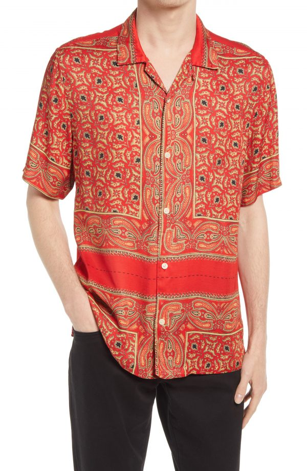Men's Allsaints Sinaloa Relaxed Fit Short Sleeve Button-Up Shirt, Size X-Small - Red