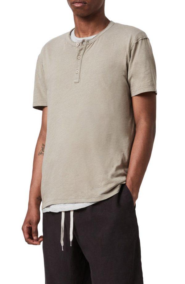 Men's Allsaints Slub Jersey Henley, Size Medium - Beige
