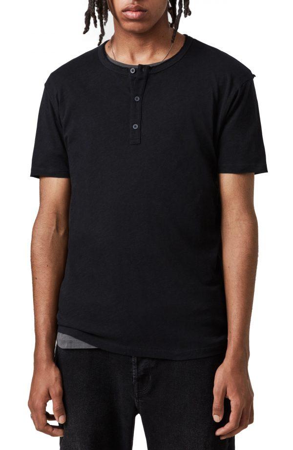 Men's Allsaints Slub Jersey Henley, Size Medium - Black