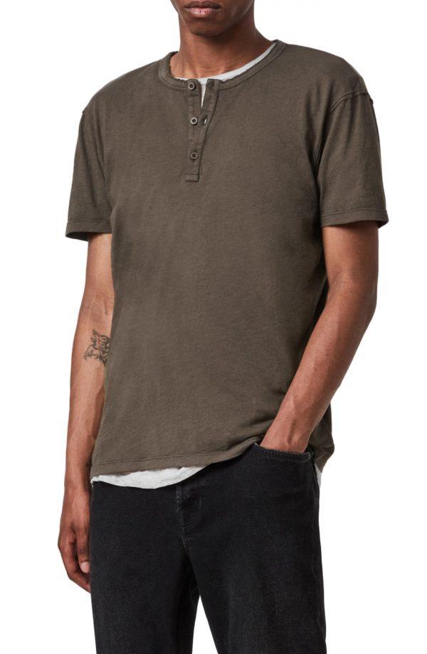 Men's Allsaints Slub Jersey Henley, Size Medium - Grey
