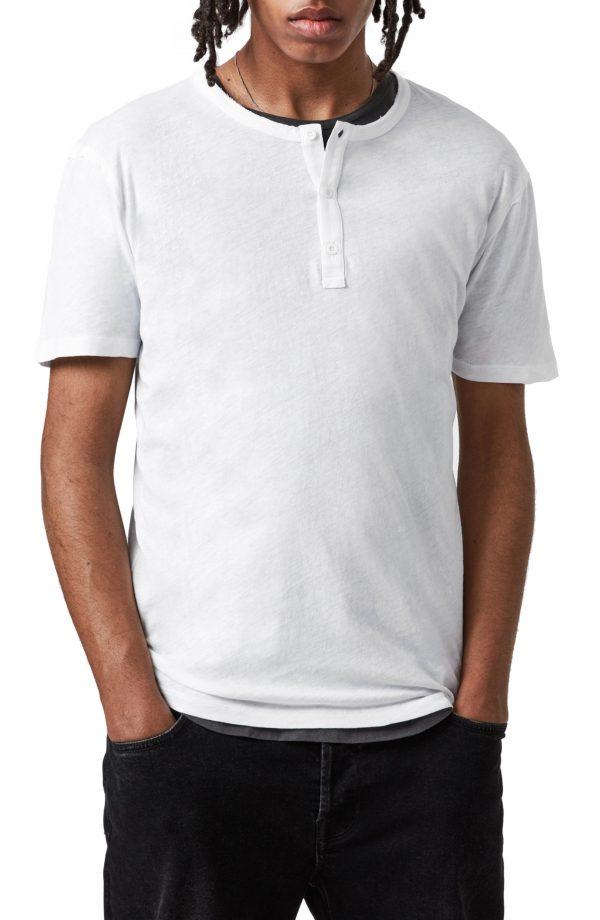 Men's Allsaints Slub Jersey Henley, Size Small - White