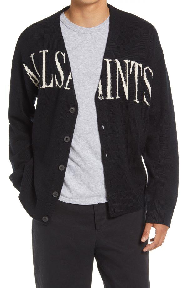 Men's Allsaints Split Saints Cardigan, Size Small - Black