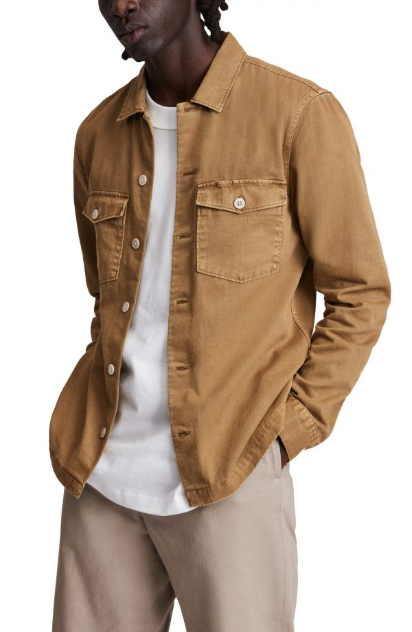 Men's Allsaints Spotter Button-Up Shirt Jacket, Size Medium - Brown