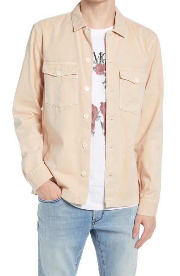 Men's Allsaints Spotter Button-Up Shirt Jacket, Size Medium - Pink