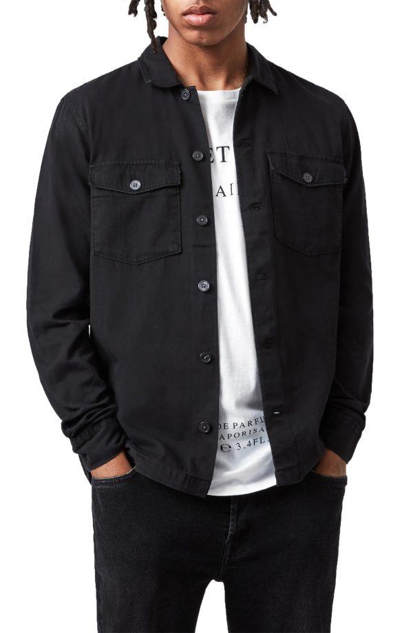 Men's Allsaints Spotter Button-Up Shirt Jacket, Size Small - Black