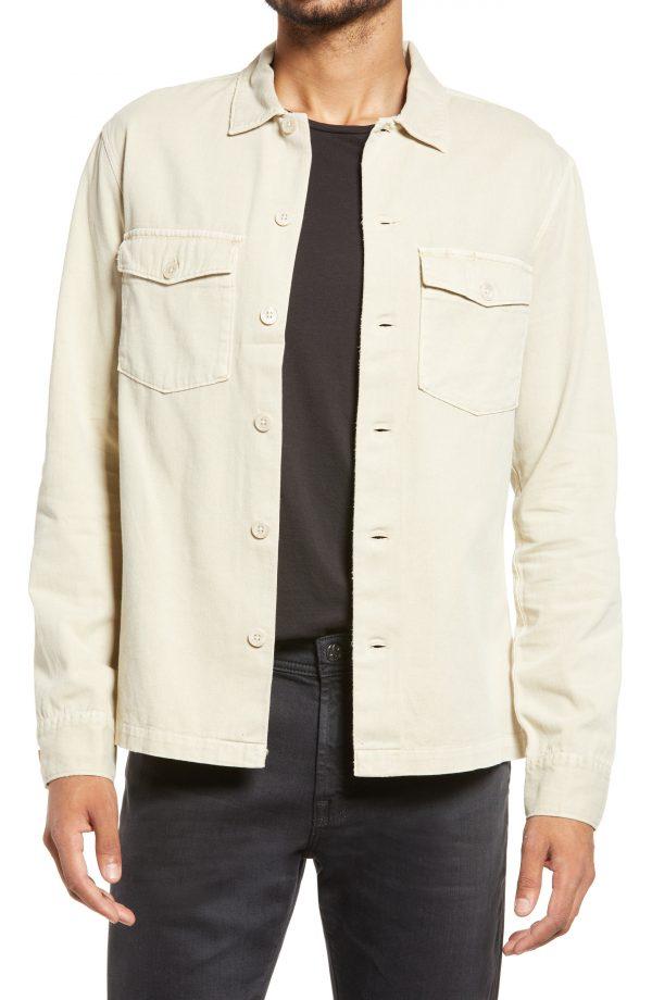 Men's Allsaints Spotter Button-Up Shirt Jacket, Size Small - Brown