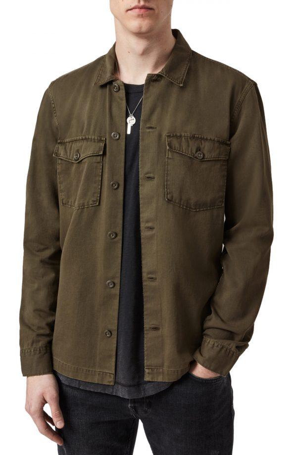 Men's Allsaints Spotter Shirt Jacket, Size Medium - Green