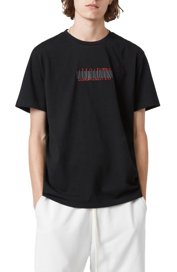 Men's Allsaints Stamp Laminate Cotton Crewneck T-Shirt, Size Medium - Black
