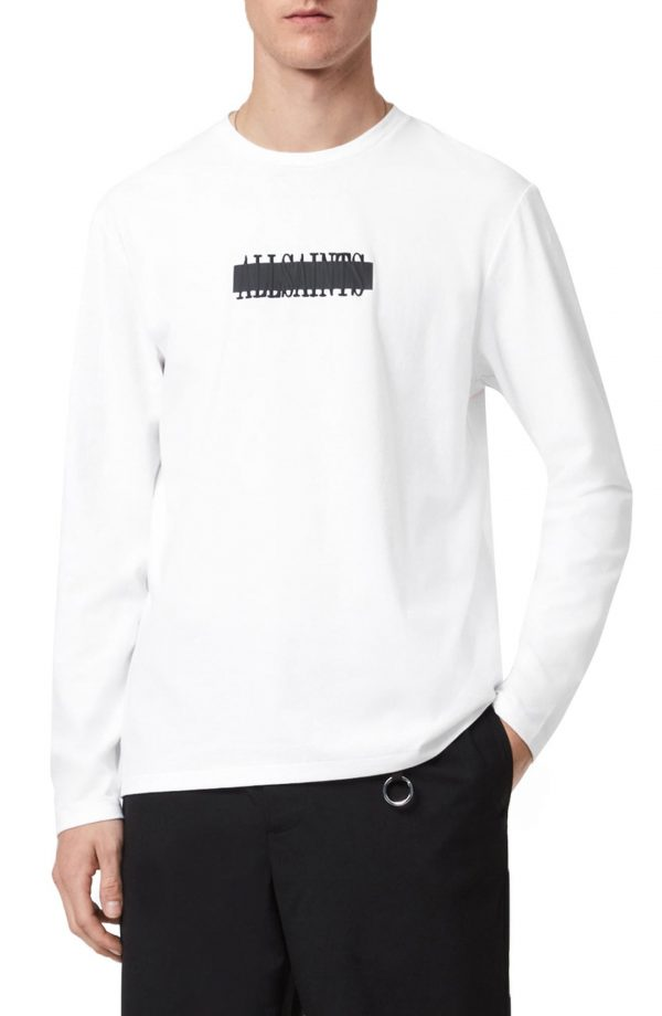 Men's Allsaints Stamp Laminate Long Sleeve Graphic Tee, Size Small - White
