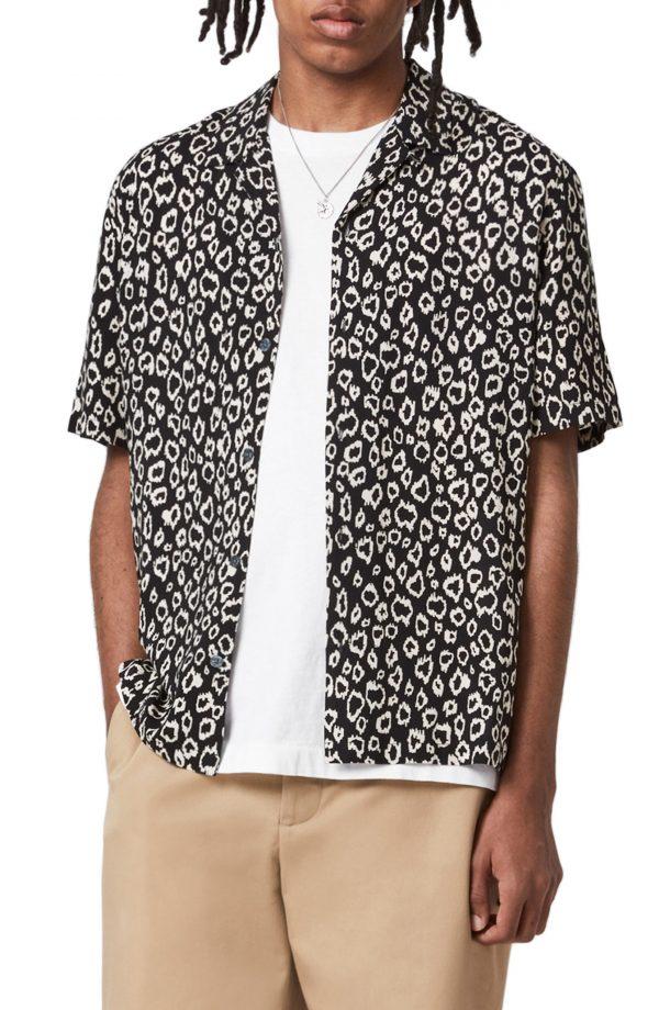 Men's Allsaints Starlight Relaxed Fit Leopard Print Short Sleeve Button-Up Camp Shirt, Size Medium - Black