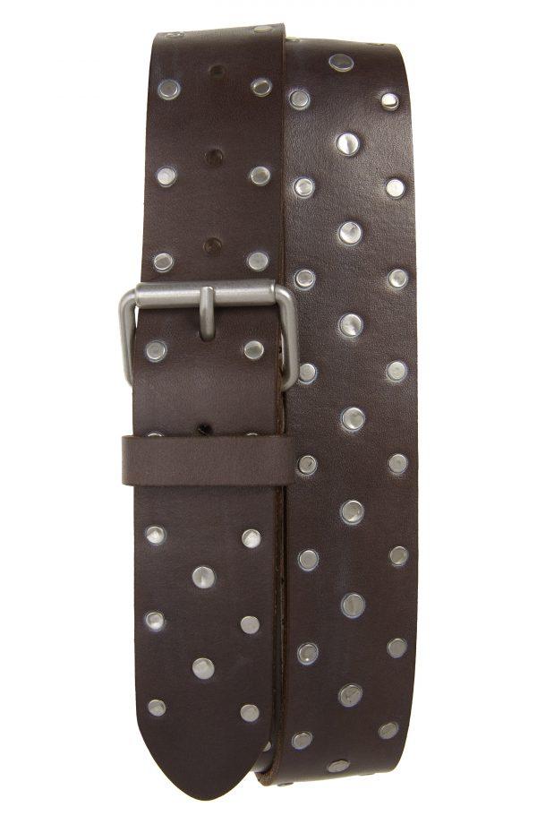 Men's Allsaints Studded Leather Belt, Size 32 - Anthracite
