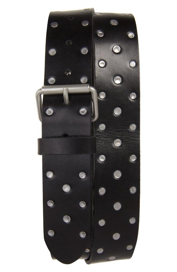 Men's Allsaints Studded Leather Belt, Size 32 - Black
