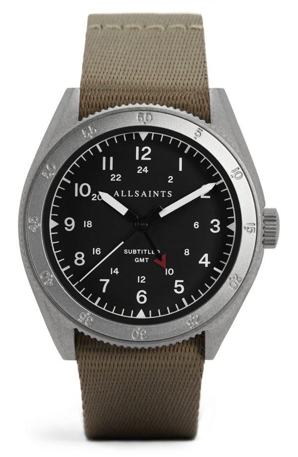 Men's Allsaints Subtitled Gmt Ii Nylon Strap Watch, 42mm