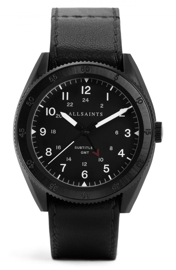 Men's Allsaints Subtitled Gmt Iii Leather Strap Watch, 42mm