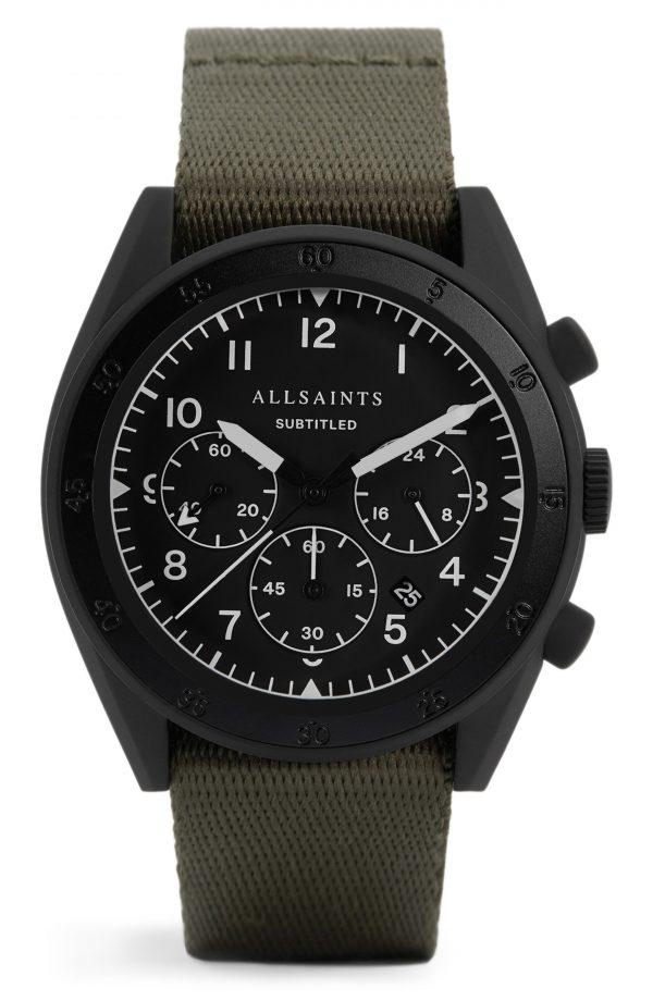 Men's Allsaints Subtitled I Nylon Strap Watch, 42mm