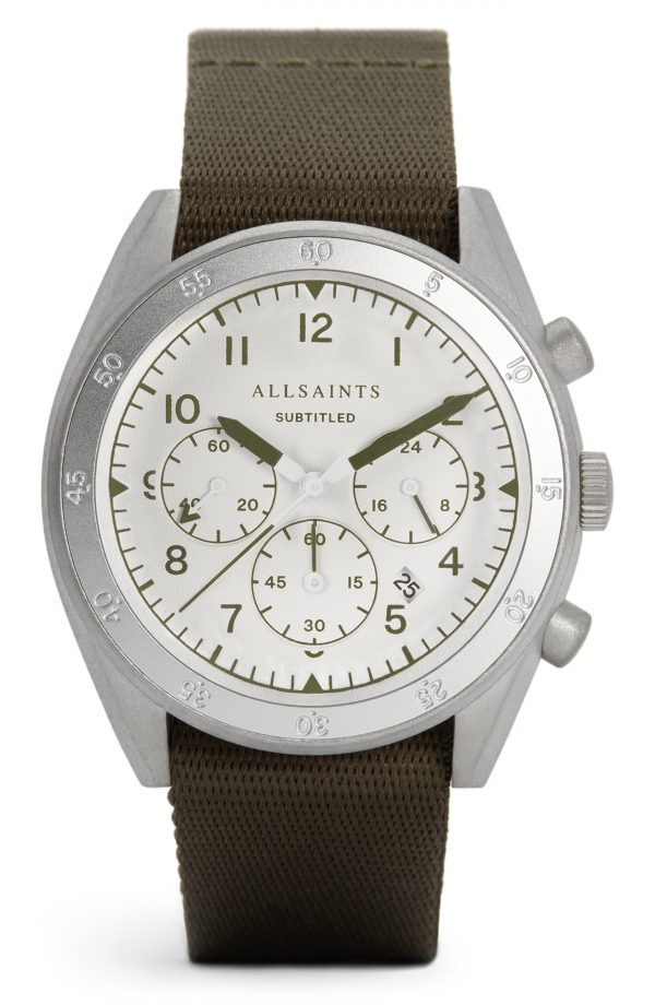 Men's Allsaints Subtitled Iii Nylon Strap Watch, 42mm