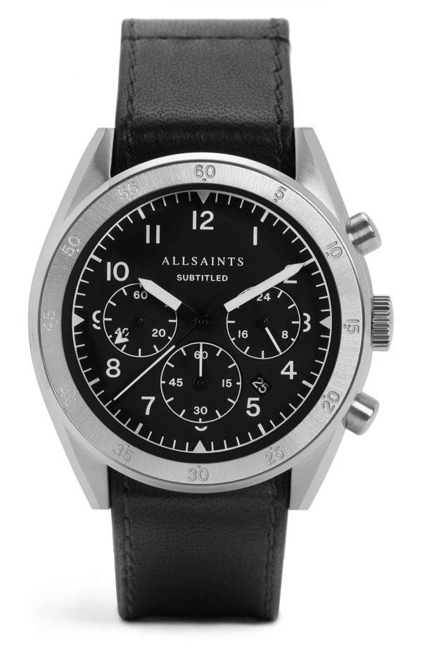 Men's Allsaints Subtitled Iv Leather Strap Watch, 42mm