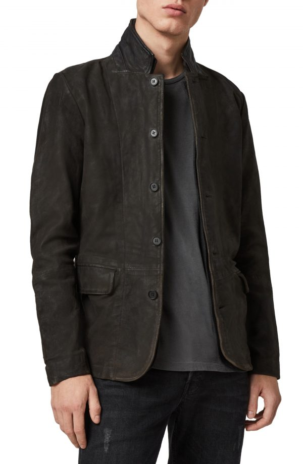 Men's Allsaints Survey Slim Fit Leather Blazer, Size Small - Grey