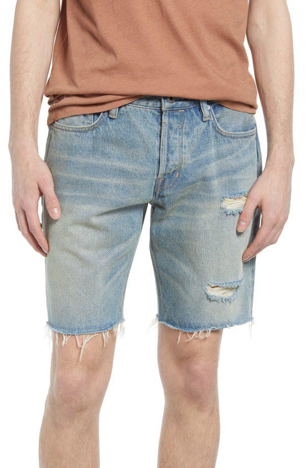Men's Allsaints Switch Ripped Damaged Cutoff Denim Shorts, Size 28 - Blue