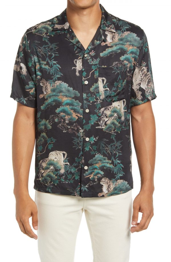 Men's Allsaints Thicket Short Sleeve Button-Up Shirt, Size Large - Black