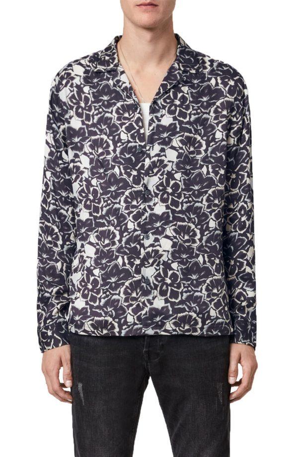 Men's Allsaints Tiergarten Floral Button-Up Shirt, Size Medium - Black