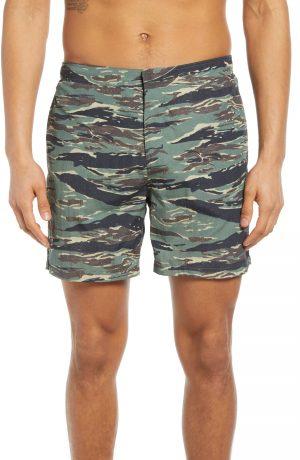 Men's Allsaints Tirador Camo Swim Trunks, Size XX-Large - Green
