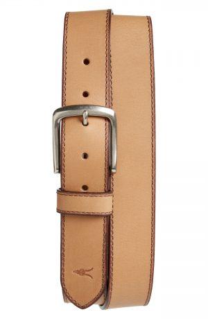 Men's Allsaints Topstitch Leather Belt, Size 38 - Acorn Brown