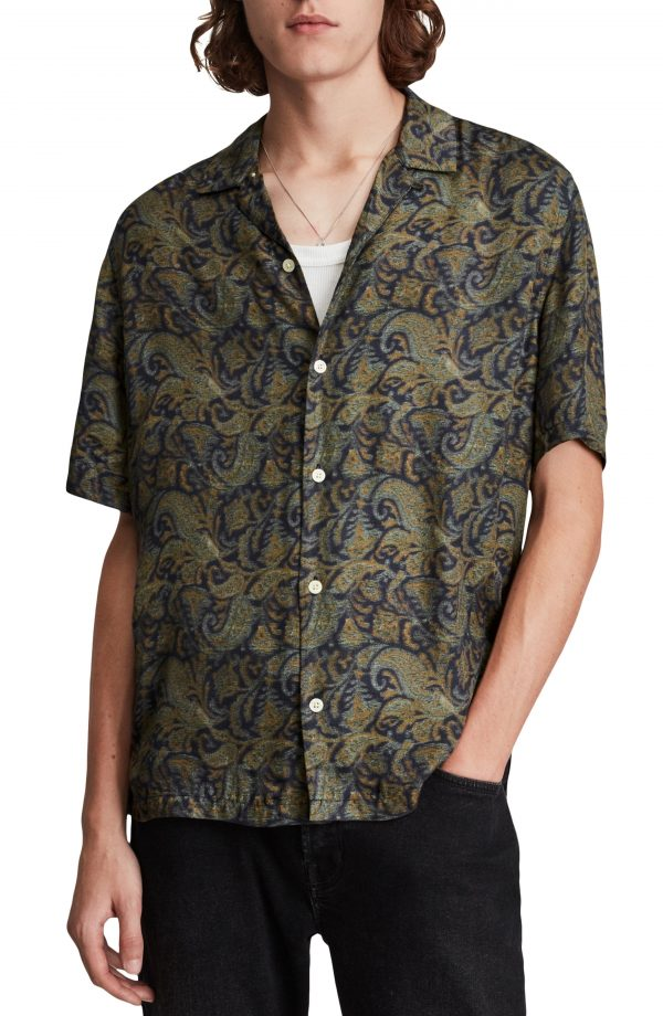 Men's Allsaints Transmission Relaxed Fit Print Short Sleeve Button-Up Shirt, Size X-Large - Black