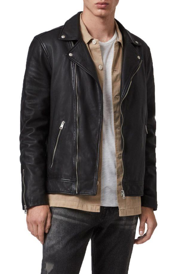 Men's Allsaints Tyson Leather Biker Jacket, Size Large - Black