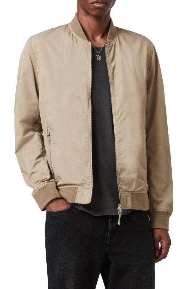 Men's Allsaints Udan Slim Fit Bomber Jacket, Size X-Large - Beige