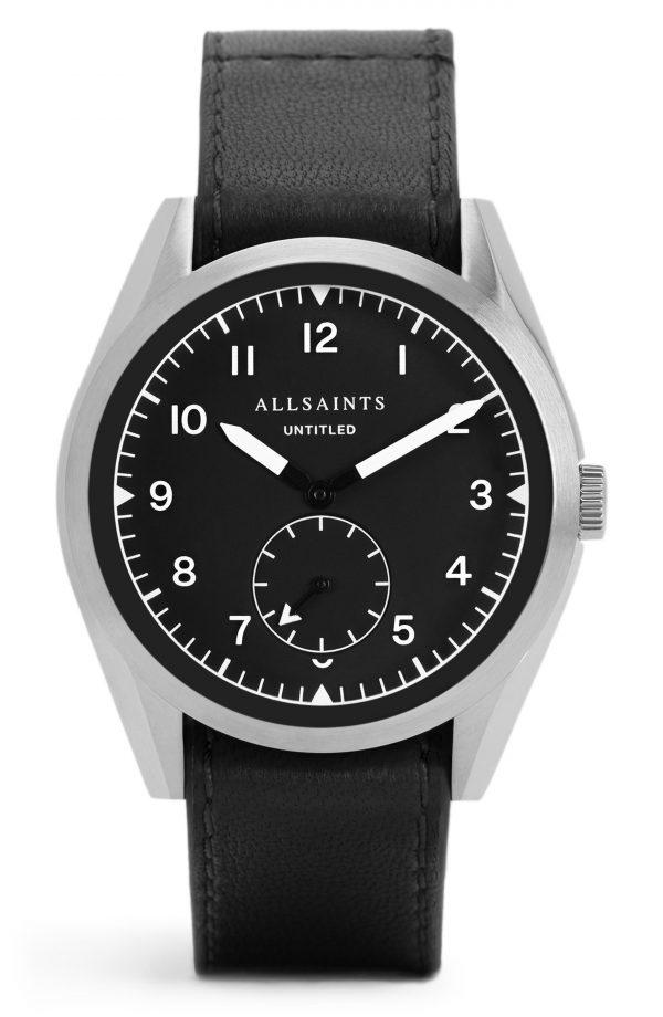 Men's Allsaints Untitled Ii Leather Strap Watch, 42mm