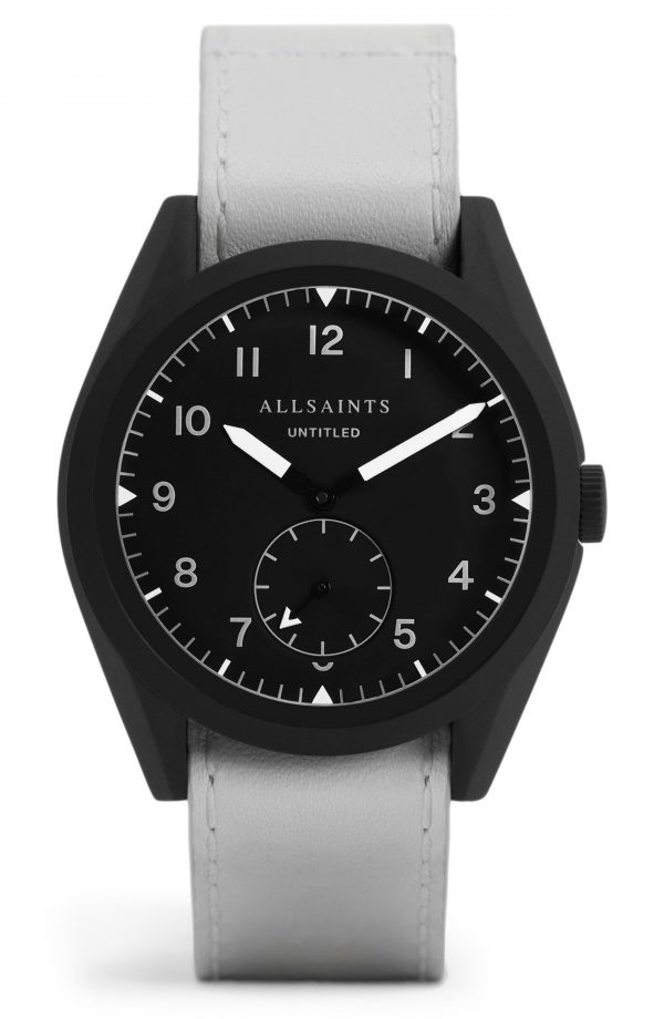 Men's Allsaints Untitled Iv Leather Strap Watch, 40mm