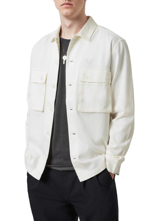 Men's Allsaints Vanguard Herringbone Button-Up Work Shirt, Size Large - White