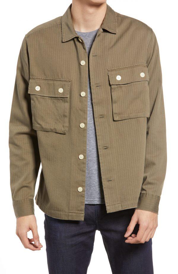 Men's Allsaints Vanguard Herringbone Twill Shirt Jacket, Size Small - Green