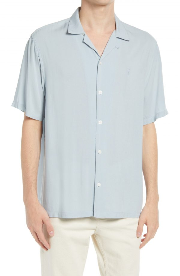 Men's Allsaints Venice Relaxed Fit Short Sleeve Button-Up Camp Shirt, Size Small - Blue