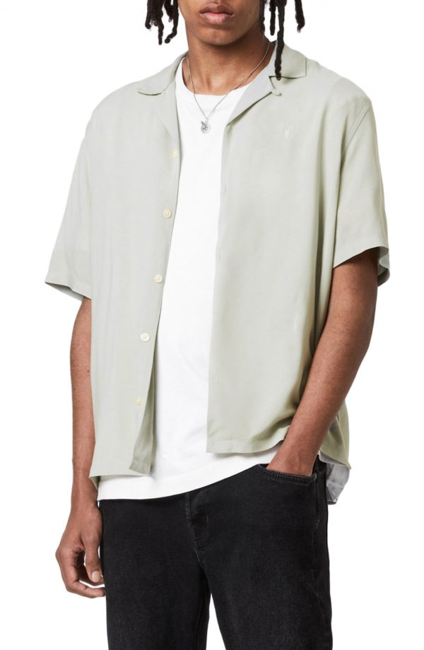 Men's Allsaints Venice Short Sleeve Button-Up Camp Shirt, Size X-Large - Green