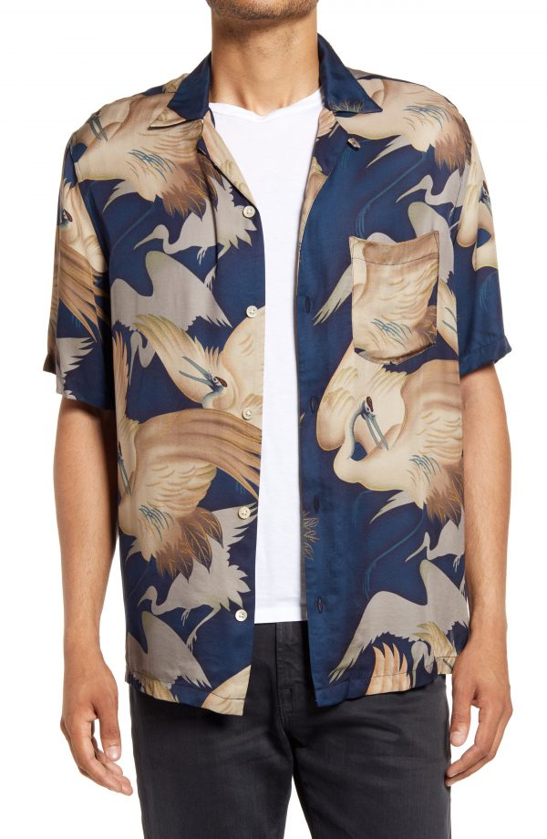 Men's Allsaints Wader Relaxed Fit Crane Print Short Sleeve Button-Up Camp Shirt, Size X-Large - Blue