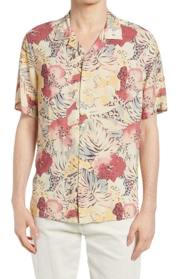 Men's Allsaints Wailea Floral Short Sleeve Button-Up Camp Shirt, Size Medium - Beige