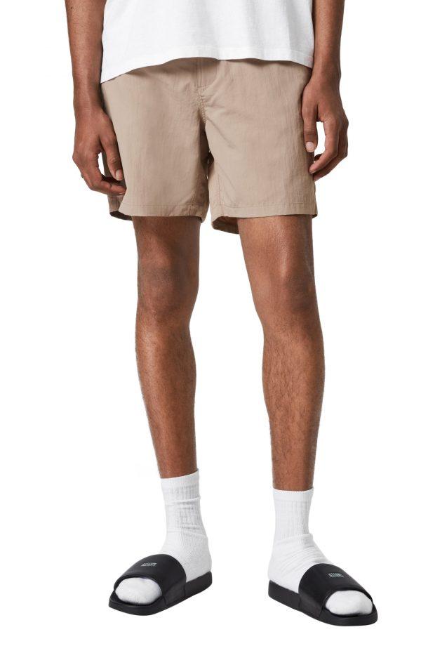 Men's Allsaints Warden Swim Shorts, Size Large - Beige