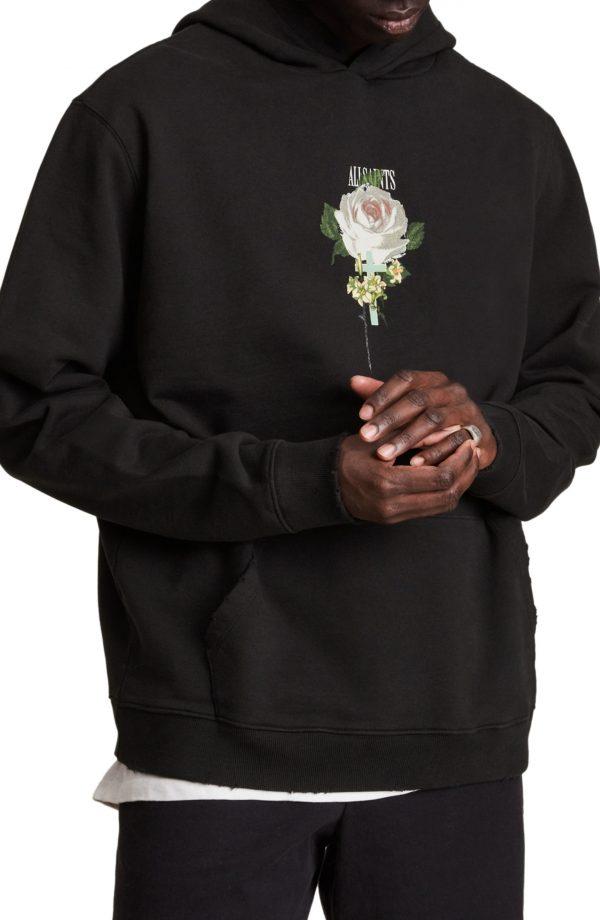 Men's Allsaints Wreath Hoodie, Size XX-Large - Black