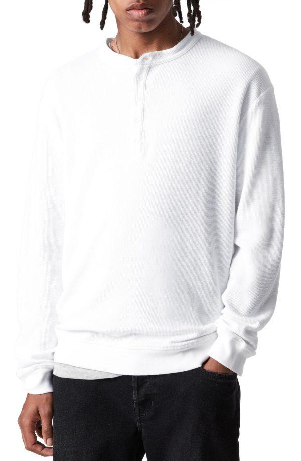 Men's Allsaints Wrenley Cotton Henley, Size Small - White