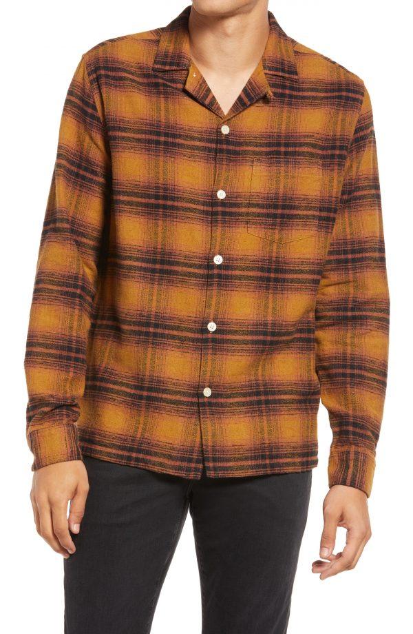 Men's Allsaints Ysidro Plaid Button-Up Shirt, Size Small - Yellow