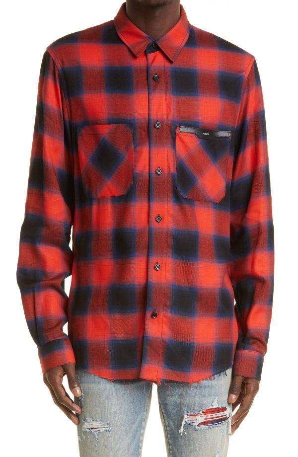 Men's Amiri Applique Logo Plaid Flannel Button-Up Shirt, Size Small - Red