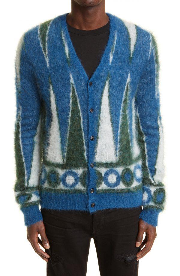 Men's Amiri Backgammon Brushed Cotton Cardigan, Size Small - Blue
